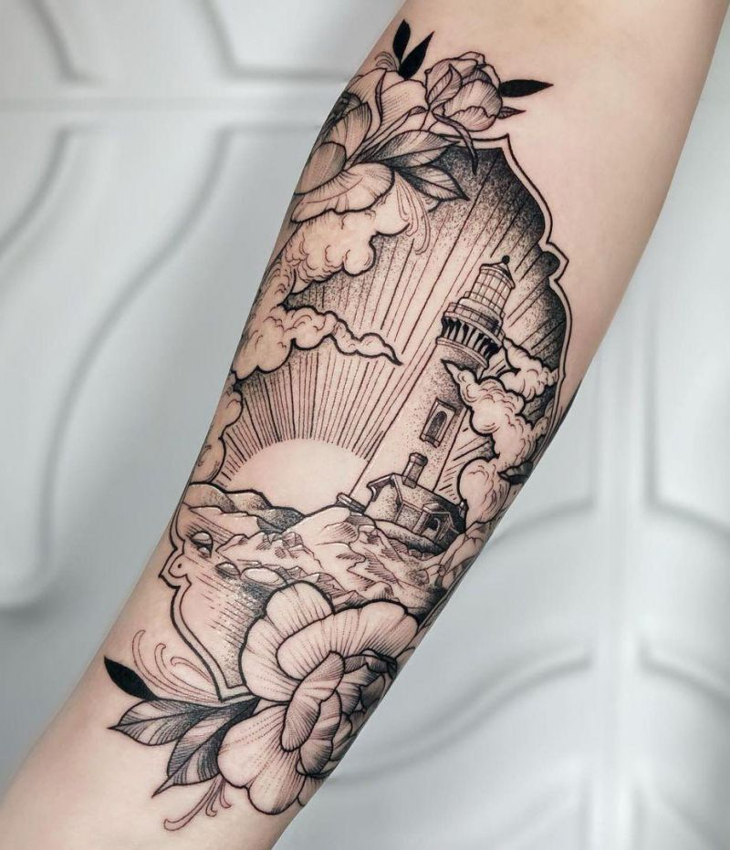 30 Pretty Lighthouse Tattoos You Will Love