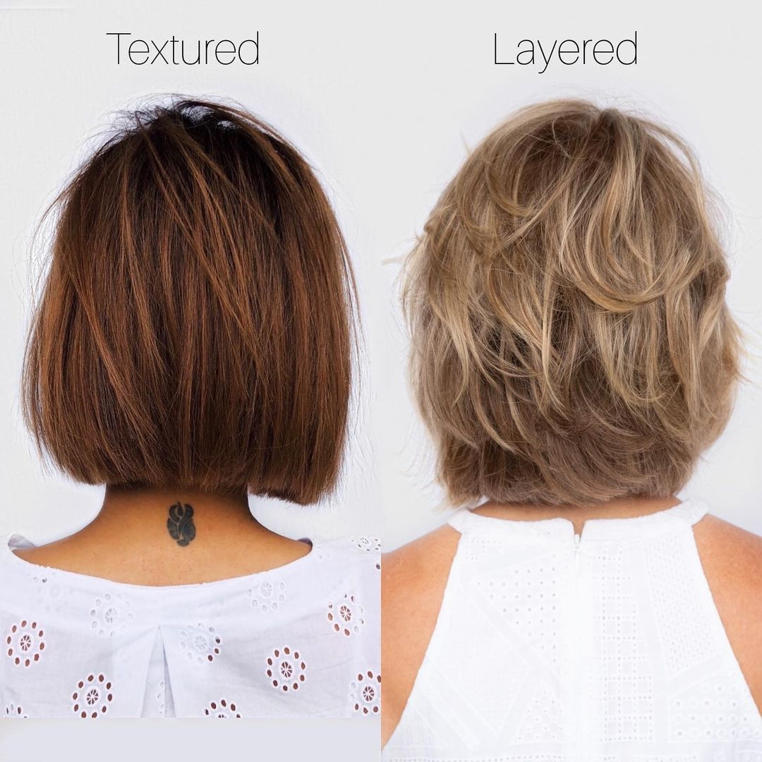the difference between a textured bob and a layered bob